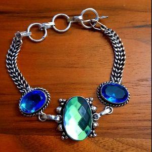 Glass gemstone silver tone bracelet